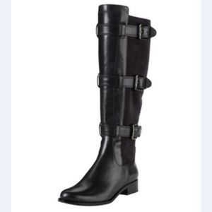 Cole Haan Nike Air Avalon Black Leather Tall Boots